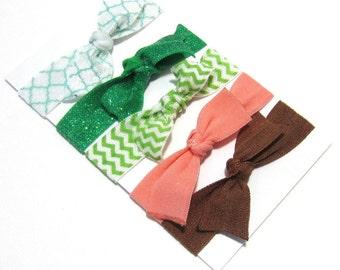 Green Set of 5 Hair Ties, Ponytail Holders, Elastic Hair Ties, Elastic Bracelet, Girl Baby Woman Ponytail Holder, Ponytail Elastic, HairBand