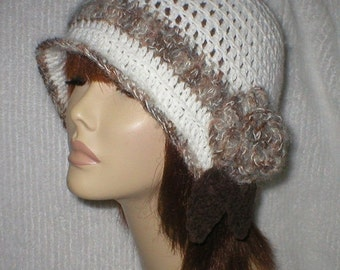 25% OFF SALE Crochet Women Teens White Shades of Brown White Mohair 1920's Cloche Flapper Hat