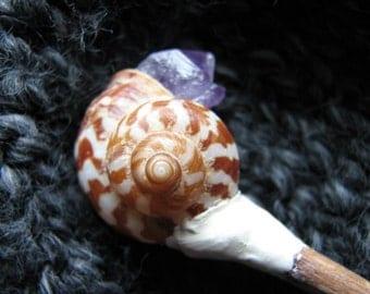Amethyst cluster crystal | snail shell | raw crystal | shawl pin | hair stick | oak wood