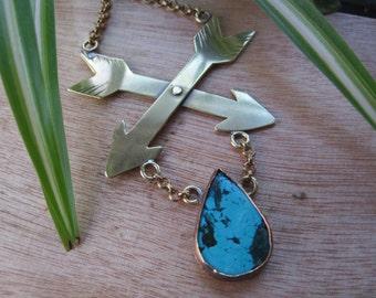 Crossed Arrows and Turquoise Teardrop Statement Necklace in Brass. One of a Kind. Ready to Ship.