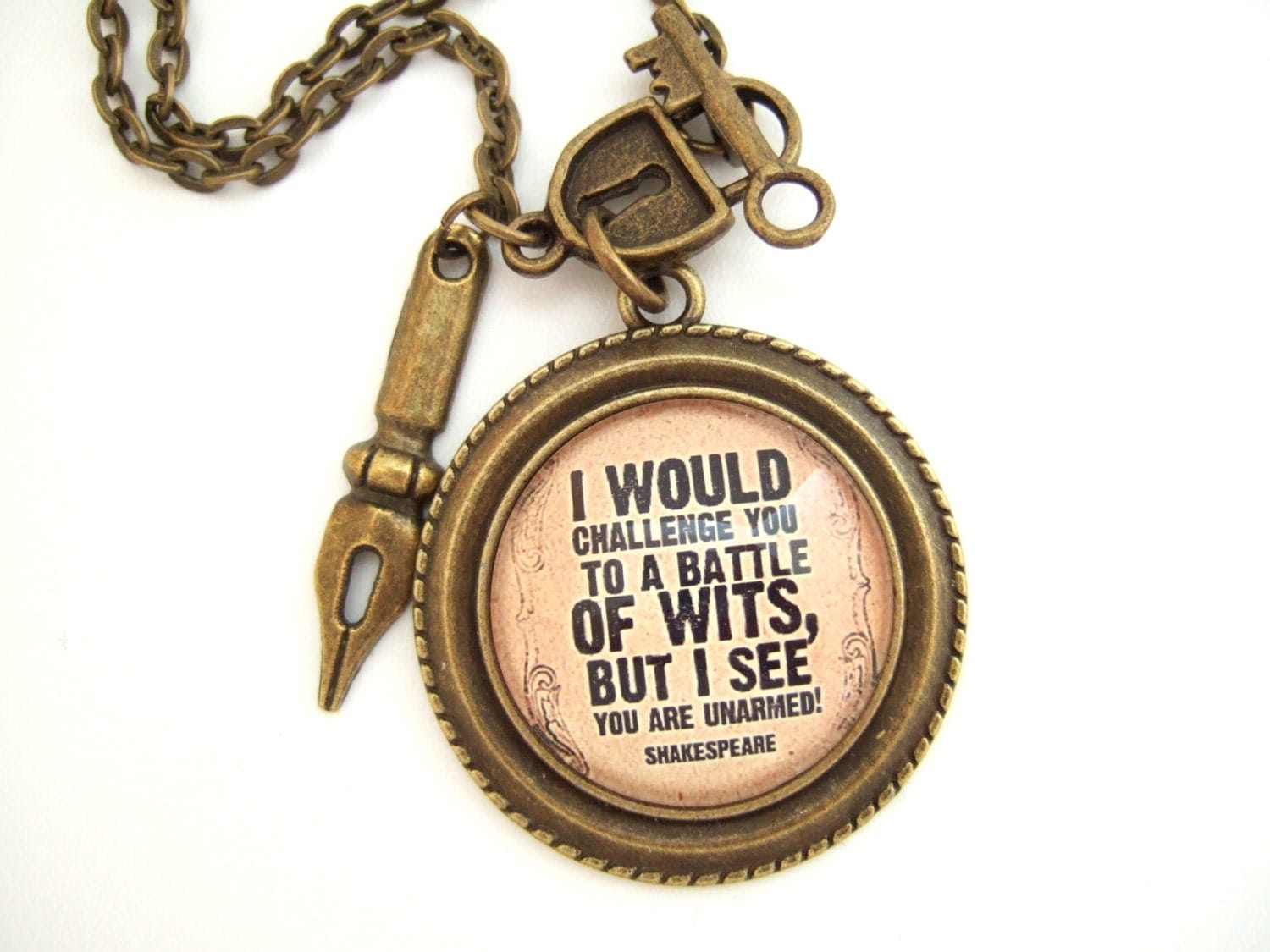 How To Make A Book Quote Pendant : Literary quote necklace shakespeare book lover