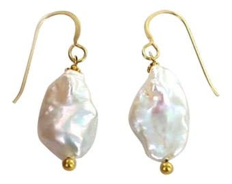 18k Gold Keshi Pearl Earrings Large