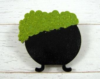 Green Bubbling Cauldron Pin - Halloween Accessory - Wood Brooch