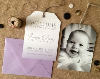 NEW - Photo Birth Announcement - Baby Girl Ombre Tag Design - The Paige - White 120# Stock - Lavender Ink & Envelope - Set of 25