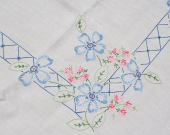 Vintage Embroidered Linen Tablecloth Set with Pink and Blue Flowers 4 Napkins