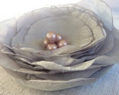 Grey Rose organza wedding flower pins