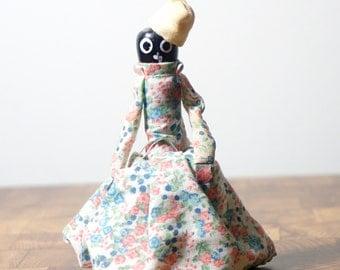 Vintage Folk Art Black Doll Souvenir Metal Bell
