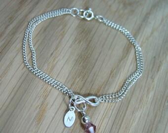 Sterling Silver Personalised Infinity Bracelet with Birthstone Crystal Drop - Handmade - Wedding / Bride / Bridesmaid Gift