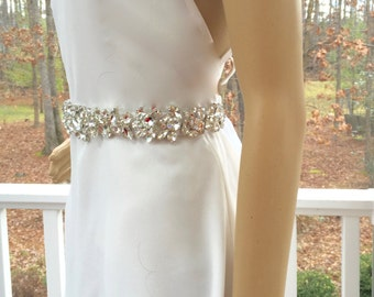 Bridal Rhinestone Sash, Wedding Gown Sash, Bridal Rhinestone Belt, Wedding Gown Belt,  Bridal Gown Accessory