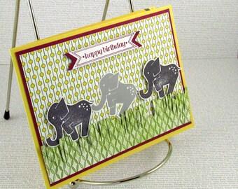 Birthday Card Handmade for Child or Adult Male or Female Elephants Happy Birthday Cheery Fun Birthday Wishes