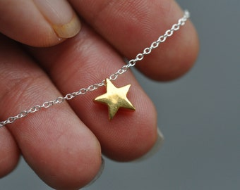 Vermeil Gold Star Necklace - Gold plated over sterling silver star charm necklace