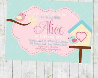 Little Birdy Birthday Invitation - Tweet Tweet - Digital File Available