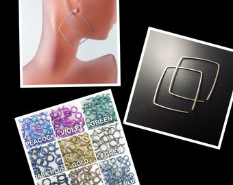 Square Niobium Hoops. Niobium Dangle. Small Niobium Earrings. Grey Niobium. Hypoallergenic. Niobium Sleeper No.00E148