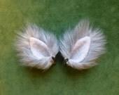 Mini Silver Gray Faux Fur Ears Cat Wolf Dog Fox Costume Halloween Cosplay