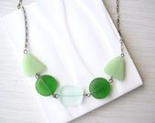 Green Glass Necklace, Seaglass Look, Eco Friendly Jewelry, Recycled, Mint, Frosted, Adjustable, Oxidized Look Chain, Sea Glass, Beachy