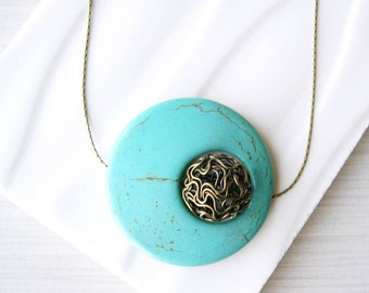 Turquoise Statement Necklace - Brass Jewelry, Geometric, Blue Stone, Chunky, Howlite, Mod, Bronze, Aqua