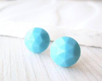 Simple Turquoise Earrings - Titanium Jewelry, Nickel Free Studs, Faceted Glass Posts, Vintage Cabs, Simple, Aqua