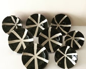 "Small Stoneware dish with Pinwheel Design in Black and White / Wheel Thrown / ""PINWHEEL"""