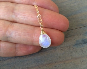 Rainbow Moonstone Wire Wrapped Pendant.  Gold fill Necklace. 12 to 20 inches chain. Faceted gem