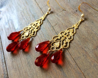 Red Swarovski Gold Chandelier Earrings LOVE