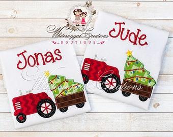 Christmas Tractor with Tree Shirt - Christmas Custom shirt - Boys Christmas Shirt - Boys Holiday Shirt