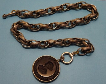 antique pocket watch chain // glass cameo wax seal stamp // original pocket watch seal stamp