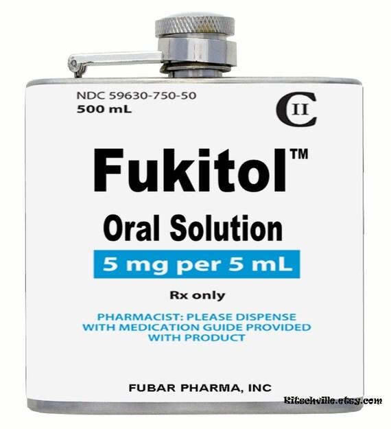 Funny Sarcastic Fukitol Oral Solution Travel Mug for Coffee