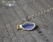 RESERVED Geode Necklace in Gold - Single Stone Layering Necklace