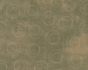 """Whisper Collection by Riverwoods Fabrics- Full or Half Yard- Slate Green """"Washed-Look"""" with Light Gray Circle within a Circle"""