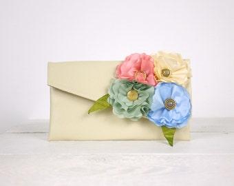 Pastel Colors Bridesmaid Clutch  Pastel Bridesmaid purse