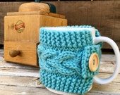 Coffee Mug Cozy, Coffee Cup Cozy, Travel Mug Cozy, Travel Cup Cozy, Cable Knit Cozy in Aqua Blue with Natural, Wood Button