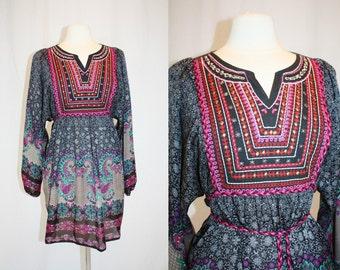Vintage Boho Dress Tunic Chiffon Like Large Black Print Embroidered Tassels Hippie Retro 1990s Folk MIddle Eastern
