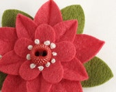 Felt Flower Brooch Strawberry Fields with Vintage Button and French Knots - Handmade