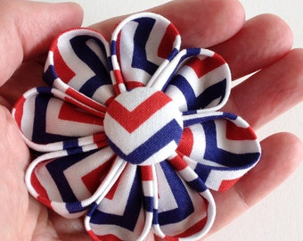 Red White and Blue Hair Clip - Patriotic Barrette