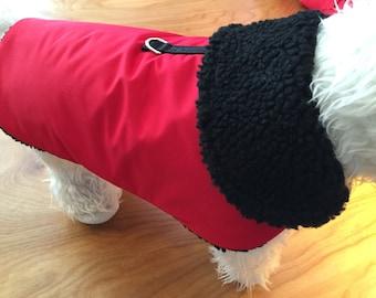 Red Waterproof, insulated, breathable Sherpa Lined  Dog Winter Jacket, Dog Coat, Dog Jackets, Dog Jacket