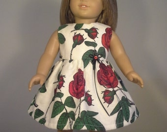 18 inch doll clothes Handmade Red Rose Print Dress fits American Girl Doll Clothes