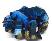 Royal Blue Cobalt Flame Aura Quartz Arkansas Crystal Cluster THIRD EYE T74