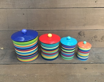 One of a Kind Set of 4 Rainbow Striped Ceramic Canister Set with Rubber Seals - Multi Colored Lids and Knobs