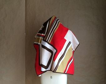 WEEKEND SALE 25% OFF / vintage 1970's geometric pattern scarf / scarve