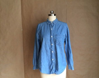 vintage 90's denim shirt / button down denim shirt/  womens size 8 / all cotton