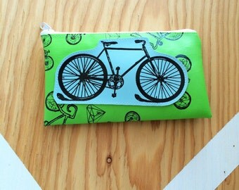 Bicycle Vegan Leather Silkscreened Pouch