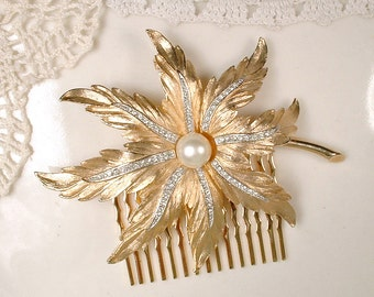 Bridal Hair Comb Gold Leaf Pearl Rhinestone Bridal Hairpiece Rustic Woodland Autumn Wedding Head Piece Vintage Trifari Headpiece Accessory