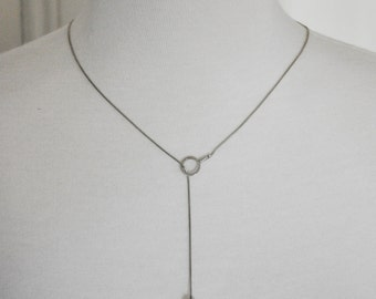 Vintage Sterling Silver Freshwater Pearl Modernist Lariat Necklace