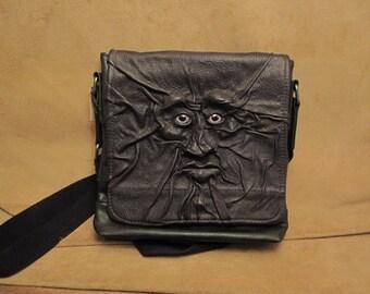 "Grichels leather tablet computer shoulder bag - ""Banber"" 26417 - black with silvery blue fish eyes"