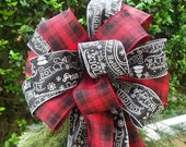 Black and Red Plaid Christmas Bow, Garland Bows, Mantel Bow, Banister Bow, Christmas Bow Topper, Christmas Wreath Bow