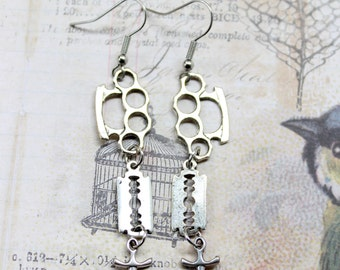 Brass Knuckles, Dagger, Razor Blade Weapon  Earrings