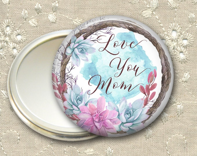Mother's Day gift for her, bohemian pocket mirror, succulent flower hand mirror for purse, compact mirror, fashion accessory MIR-1407