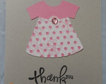 6 Handmade Baby Girl Thank You Cards