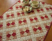 Quilted Table Topper, Handmade Tabletop, Quilted Table Top, Red Table Topper, Table Toppers, Valentine, Pieced Table Topper Patchwork Quilt