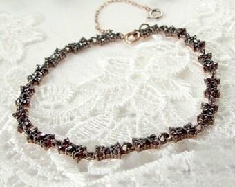 Cute Bohemian garnet bows bracelet || ГРАНАТ#PK